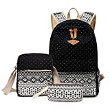 5 ALL 3 Teile Set Fashion Damen Canvas Groß Schulrucksack