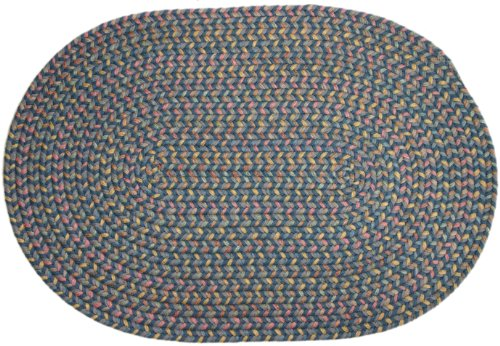 Rhody Rug Bloomfield Braided Rug, 2 by 3-Feet, Blue