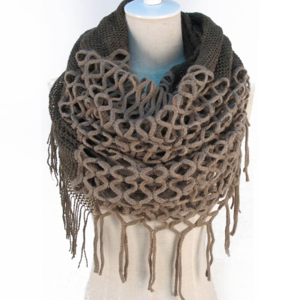 New Winter Warm Knitting Scarf Infinity Tassels Scarf for Woman Multicolors ...