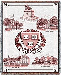 Harvard Univ Collage & Seal - 69 x 48 Blanket/Throw - Harvard Crimson