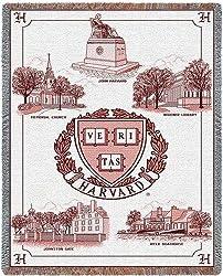 Harvard Univ Collage & Seal - 69 x 48 Blanket/Throw - Harvard Crimson