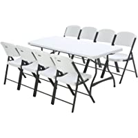 Lifetime Combo-1 Banquet 6' Commercial Table and 8 Folding Chairs (White Granite)