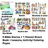 5 Bible Stories Felt Figures Precut + Flannel Board + Stories/Activity Pages Abraham Isaac Noahs Ark, Ruth Esther...