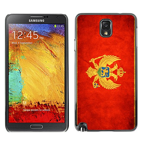 Omega Case Strong & Slim Polycarbonate Cover - Samsung Galaxy Note 3 Iii ( Montenegro Grunge Flag )