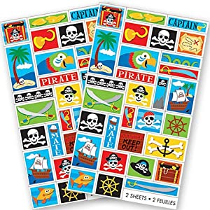Click to buy Pirate Birthday Party Ideas: Pirate Party stickers from Amazon!