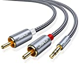 JSAUX RCA Cable, [10ft, Dual Shielded Gold-Plated] 3.5mm Male to 2RCA Male Stereo Audio Adapter Cable Nylon Braided AUX RCA Y Cord for Smartphones, MP3, Tablets, Speakers, HDTV [Grey] (Color: Grey, Tamaño: 10ft)