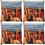 Snoogg Hill Climb Mountain Pack Of 4 Digitally Printed Cushion Cover Pillows 18 X 18 Inch