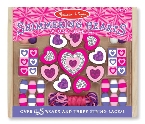 Melissa & Doug Shimmering Hearts Wooden Bead Set