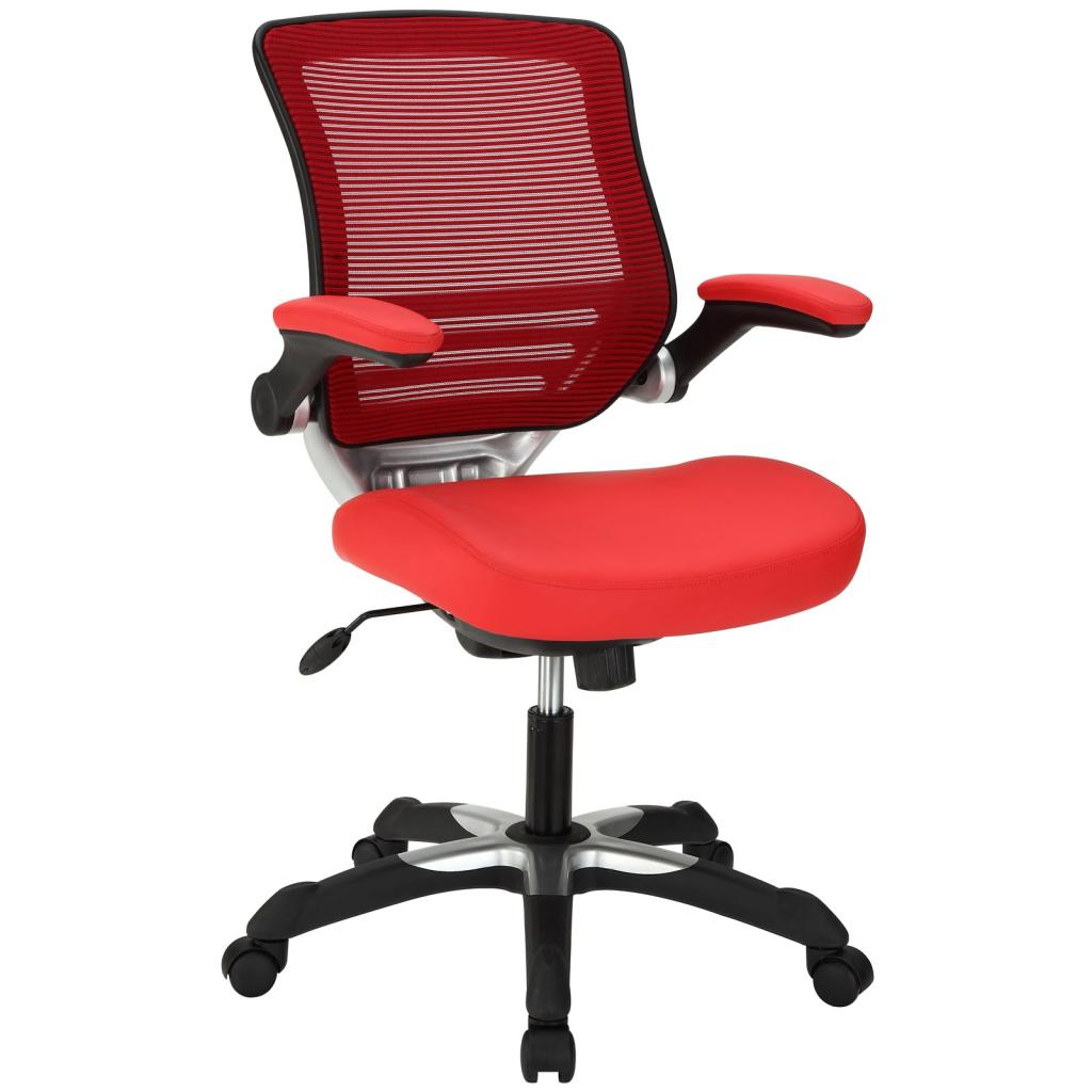 com lexmod edge office chair with mesh back and red leatherette seat