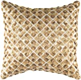 Rizzy Home T-4248 18-Inch by 18-Inch Decorative Pillows, Gold/Gold, Set of 2