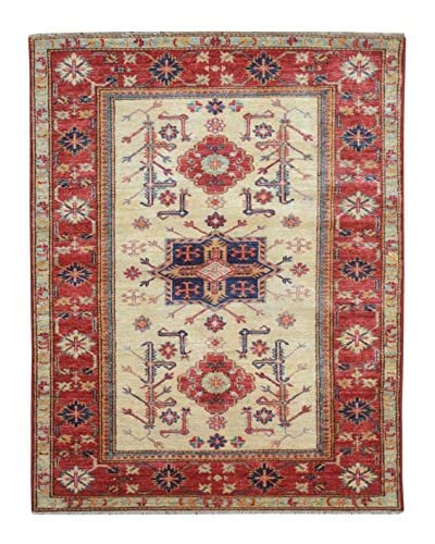 Kalaty One-of-a-Kind Kazak Rug, Beige, 3' 4 x 4' 10