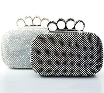 JUST LILI© Clutch Abendtasche mit Ringen (Silber)