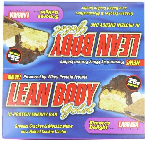 Labrada Nutrition Lean Body Gold High Protein Energy Bar, Smores, 12 Count