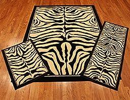 Rug and Decor Elements Collection 3 Piece Area Rug Set Area Rug Scatter and Runner #710 Black Ivory Zebra RUG