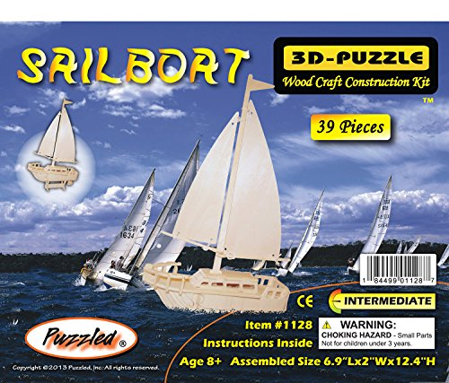 Puzzled Sailboat Wooden 3D Puzzle Construction Kit
