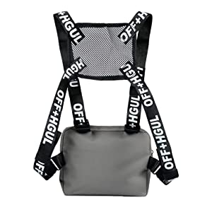 Trido Universal Chest Rig Bag Adjustable Functional Shoulder Pack Walkie Talkie Harness Radio Holster Holder for Men Women (Grey) (Color: grey)