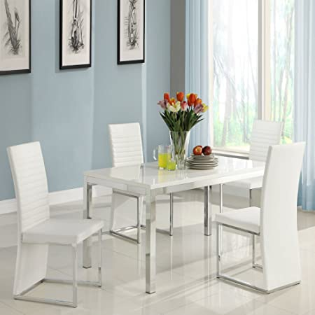 Homelegance Clarice 5-Piece Chrome Dining Table Set - Modern