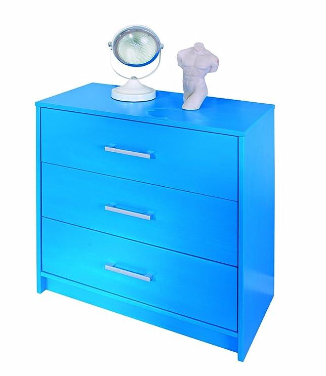Links - Color 10 cassettiera. Dim 70x35x71h cm. Pino masssello verniciato ad acqua. Azzurro.