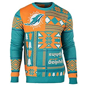 NFL Miami Dolphins Patches Ugly Sweater, Green, Medium