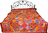 Exotic India Multicolor Antiquated Bedspread from Kutch with Embroidered Patches and Mirrors - Pure