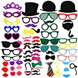 COOLOO Durable Paper Party Photo Booth Prop DIY Kit On A Wood Stick For Photography,Selfie,Classic Props:Mustache,Red Lips,Glasses Frames,Haps,Bowties,Pipe,Crown,Pack of 62
