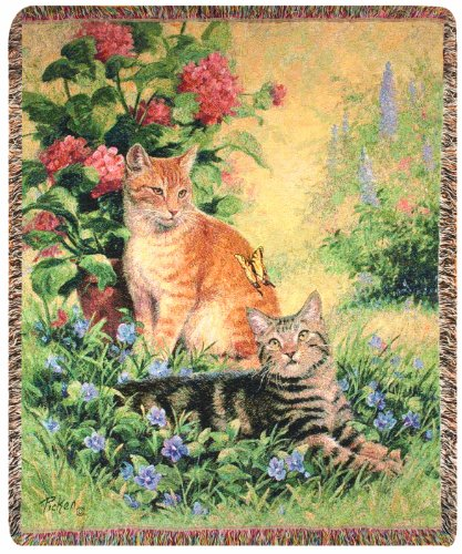 Manual Pet Collection 50 X 60-Inch Tapestry Throw, Purrfect Pair