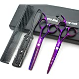 5.5 Inches Hair Scissors with Thinning Comb Hair Cutting Shears Thinning Shears set for Professional and Personal (Violet) (Color: Violet)