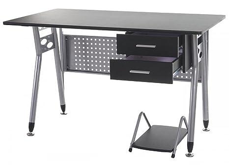 Meuble de bureau coloris gris et noir - Dim : P 70 x L 120 x H 73 cm -PEGANE-