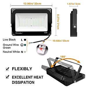 Onforu 2 Pack 100W LED Flood Light, 10000lm 5000K Daylight White, IP66 Waterproof Super Bright Security Lights, Outdoor Floodlight for Yard, Garden, Playground, Basketball Court (Color: 100w-daylight White)