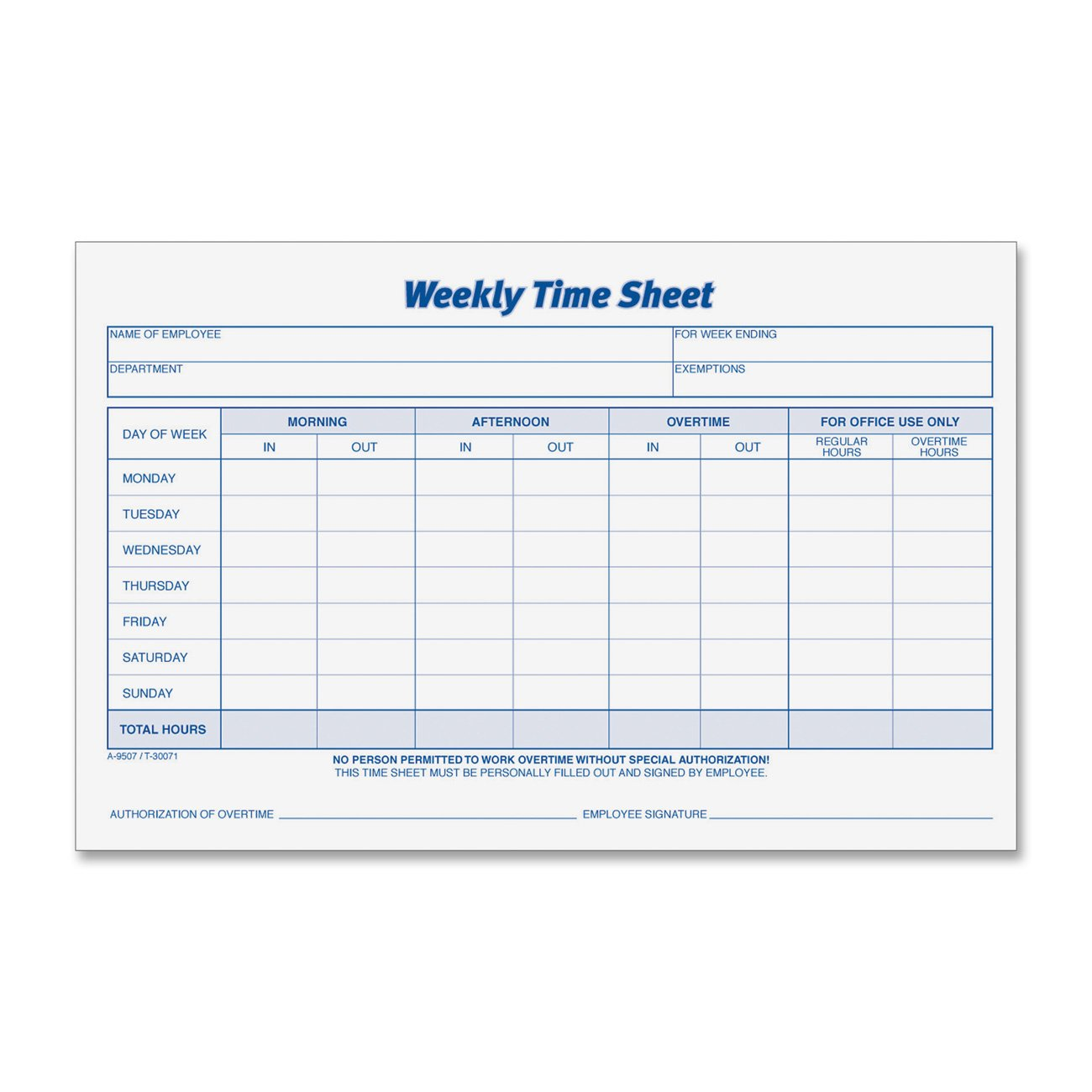 TOPS 30071 Weekly Employee Time Sheet, 8 1/2 X 5 1/2, 2 Pads/Pack