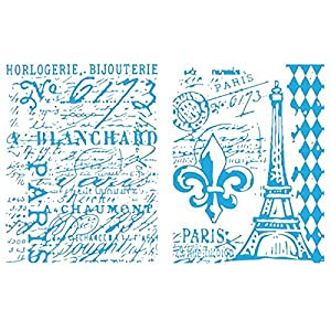 Sizzix Eiffel Tower and French Script Set by Tim Ho Texture Fades Embossing Folders, Pack of 2, Multi-Color