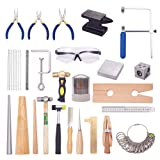 PH PandaHall 32 pcs Jewelry Making Tool Kits Including Ring Clamp Stick Mandrel Sizer Tool Jewelry Pliers Bead Awls Rulers Vernier Caliper Hammers Measuring Tool for Beginners (Color: Set of 32, Tamaño: Ring-US sizes of 1~15)