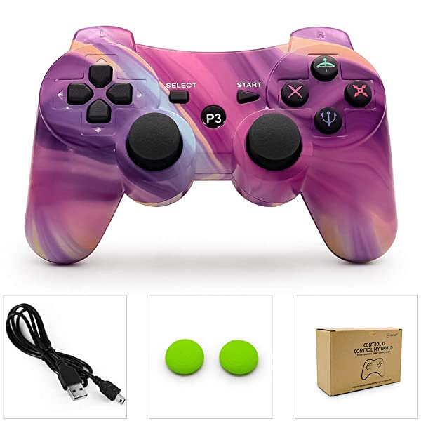 PS3 Controller Wireless Dualshock 3 PS3 Remote Ps3 Gamepad Best PS3 Joystick Gift for Kids Bluetooth Sixaxis Gamepad for Playstation 3 (Color: Aurora)