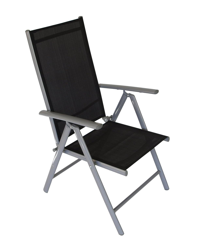 2x Klappsessel Aluminium + Textilgewebe schwarz, 7-fach verstellbare Rückenlehne günstig online kaufen