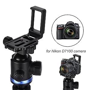 L-Plate Bracket, Quick Release Aluminium Alloy L-Plate Bracket Hand Grip for Nikon D7100 Camera Vertical L-Plate Bracket