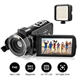 "Camcorders, AiTechny Digital Video Camcorder Full HD 1080P 24.0 Megapixel Camera Camcorders with External LED Supplement Light, 3.0"" LCD 270 Degree Rotatable Mini DV with 2 Rechargeable Batteries (Color: Black+Led Video Light, Tamaño: 3 inch Screen)"