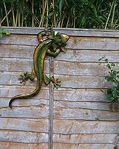 Gecko Lizard Large Green Metal Wall Art Decoration