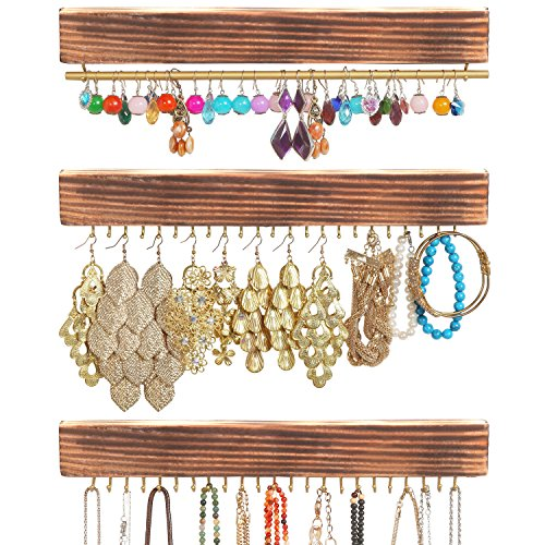 Set of 3 Rustic Wood & Gold Tone Metal Jewelry Organizers / Necklace & Bracelet Hook Racks / Earring Bar (Earring Rack Wall compare prices)