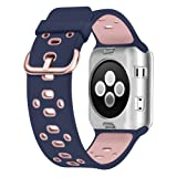 UMTELE Compatible with Apple Watch 4 Bands 40mm 38mm, Soft Silicone Sport Strap with Ventilation Holes Breathable Replacement Bands Replacement for Apple Watch Nike+, Series 4/3/2/1 40mm 38mm (Color: Blue/Pink, Tamaño: 38 mm/40 mm)