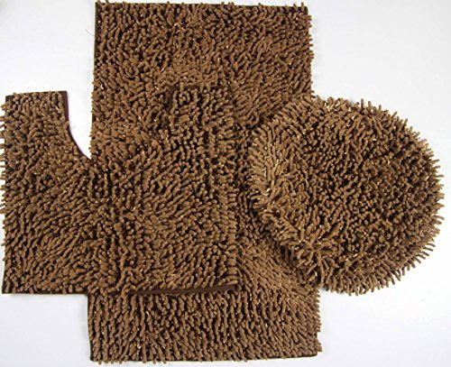 Majestic 3-Piece Mix Chenille Bathroom Mat Set: Large and Small Bath Mat, and Lid Cover - (Brown) (Elongated Toilet Lid Cover Brown compare prices)
