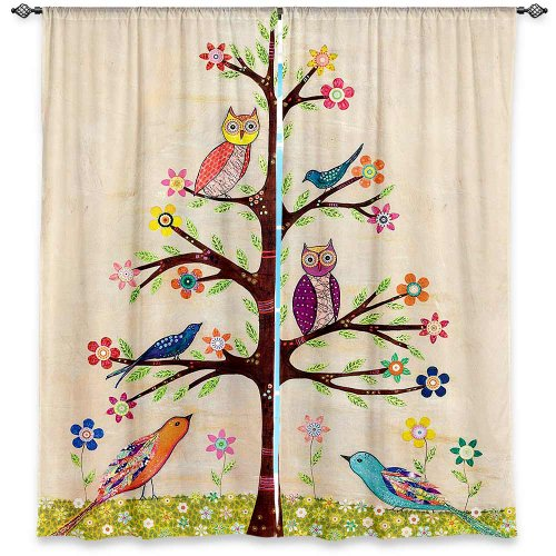 Window Curtains Unlined from DiaNoche Designs Artistic, Stylish, Unique, Decorative, Fun, Funky, Cool by Sascalia Owl Bird Tree 2
