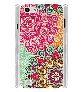 Floral Pink Pattern Art India Soft Silicon Rubberized Back Case Cover for Oppo Neo 7