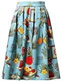 Women Pleated Vintage Skirt 50's Style Floral Size L VL6294-6