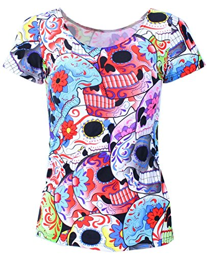 Dia de la Muerte Day of the Dead Colorful Skull Women's T-shirt