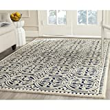 "Safavieh Cambridge Collection CAM123G Handmade Navy Blue and Ivory Wool Area Rug, 7 feet 6 inches by 9 feet 6 inches (7'6"" x 9'6"" )"