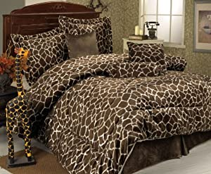 Amazon Com 7 Piece Queen Giraffe Animal Kingdom Bedding