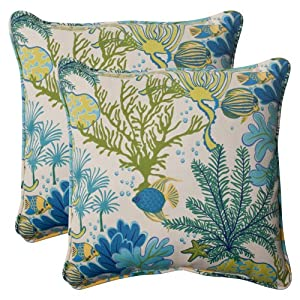 Pillow Perfect Indoor/Outdoor Splish Splash Corded Throw Pillow, 18.5-Inch, Blue, Set of 2 by Pillow Perfect