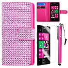 MINITURTLE, Sparkly Bling Rhinestone Studded PU Leather Flip Book Fashion Wallet Phone Case Cover for Prepaid Windows 8 Smartphone Nokia Lumia 521 /T Mobile /MetroPCS (Pink)