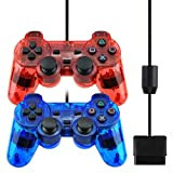 Botoop PS2 Wired Controller,DualShock Gamepad with Double Vibration for Playstation 2 Console (2 Pack Red+Blue) (Color: 2 Pack Red+Blue)