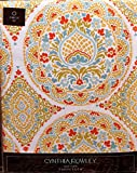 """Cynthia Rowley Fabric Tablecloth Orange, Teal, Olive Floral Paisley Medallions 70"""" Round"""